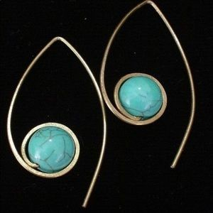 NEW Gold Tone and Turquoise Earrings